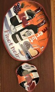 Clay-Art-Wine-Cellar-Hand-Painted-Platter-And-Dipping-Dish
