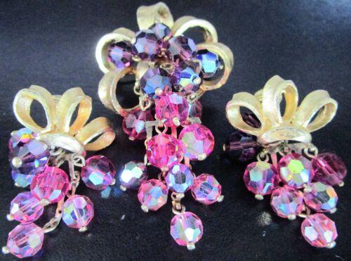 Fuschia Pink & Purple Dangling Crystal Vintage Pin