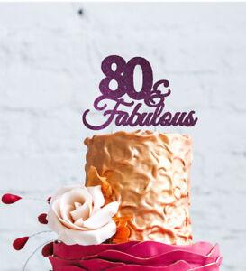 Peachy 80Th Birthday Cake Topper 80 Fabulous Cake Topper Glittery Funny Birthday Cards Online Hendilapandamsfinfo