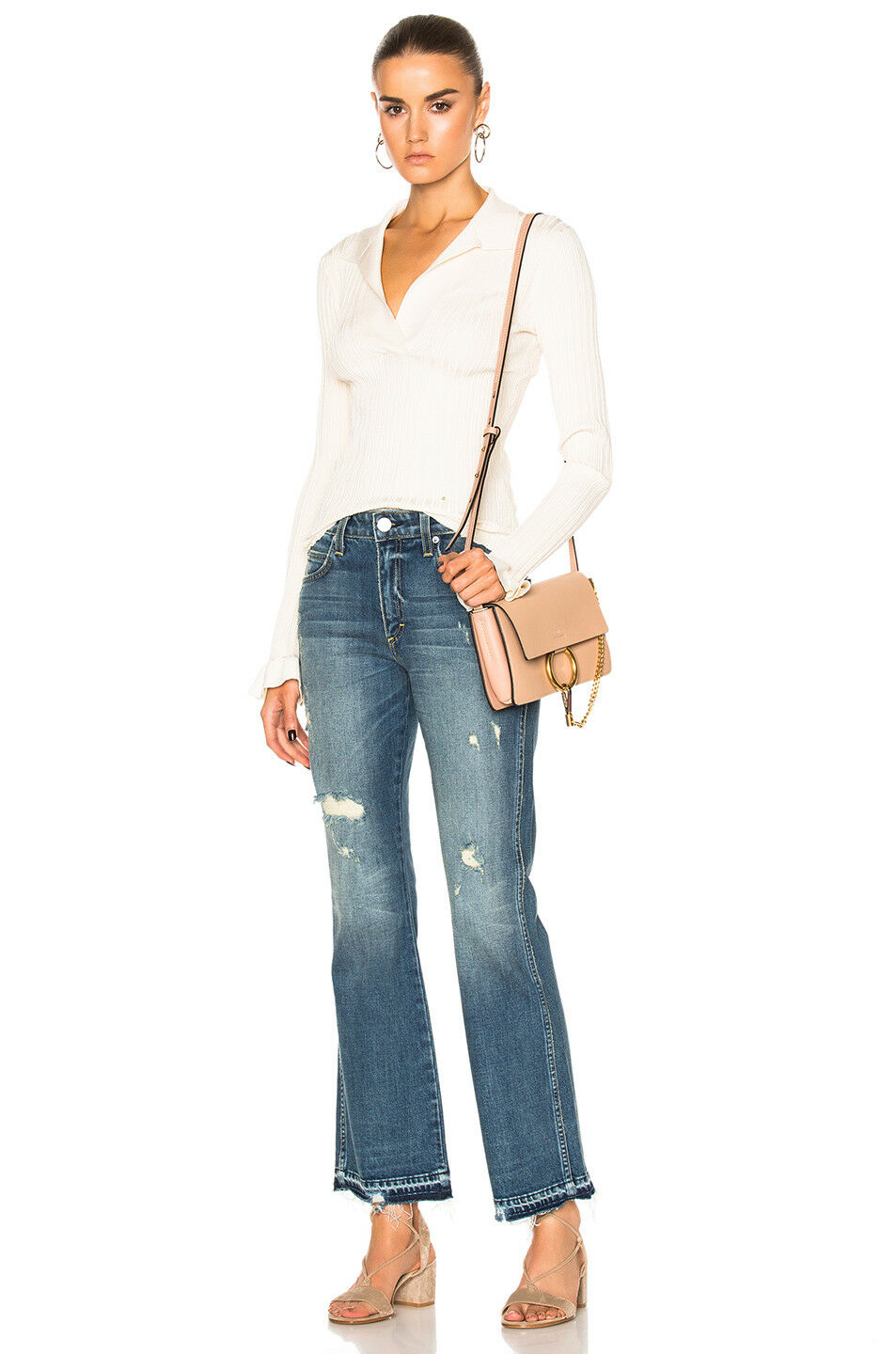 AMO Bex High Rise Flare Cropped Bootcut Faded Dreamer w Destroy bluee Jeans - 26