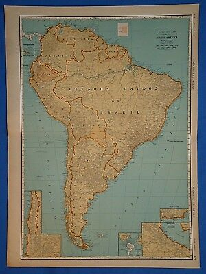 Amicable Vintage 1934 South America Map Old Antique Original Large 20x28 Atlas Map 102318 High Quality Maps, Atlases & Globes Antiques
