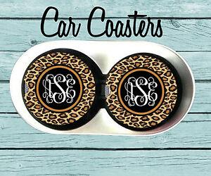 Personalized-Car-Coaster-Cheetah-Print-Monogrammed-Car-Coaster-Gift
