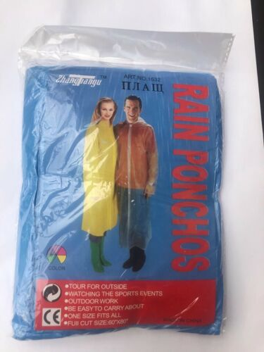 raincoat Poncho Festival Camping Emergency Waterproof Outdoor adult blue hat