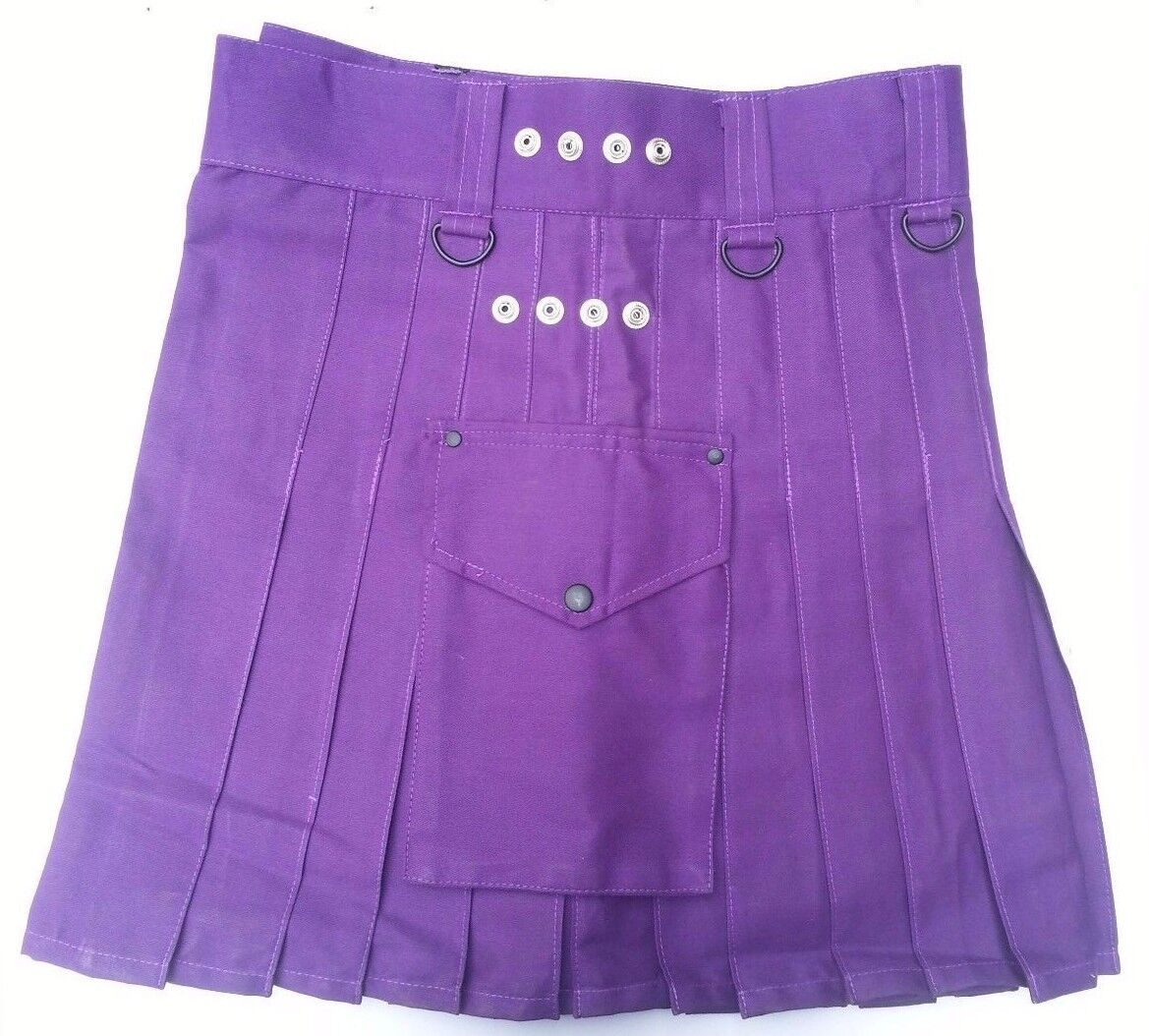 Ladies Purple Cotton Leather Straps Fashion Sport Utility Kilt, Adjustable Sizes