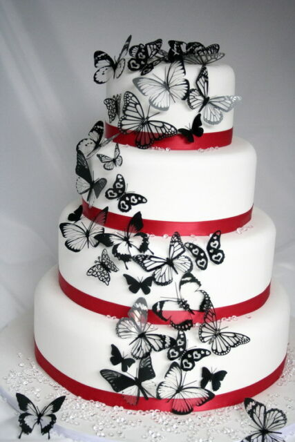 20 Black Butterflies for Cakes and Decorations