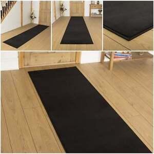 Plain black hallway carpet runner rug mat for hall extra very long cheap new ebay - Black carpet runners for hall ...