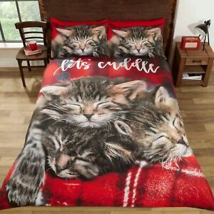CUDDLE CATS DOUBLE DUVET COVER AND PILLOWCASE SET KITTENS BEDDING