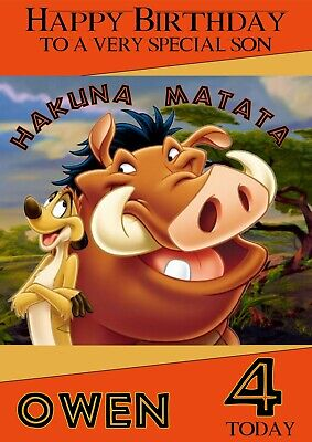 Disney Lion King Timon Pumba personalised A5 birthday card-any NAME AGE RELATION