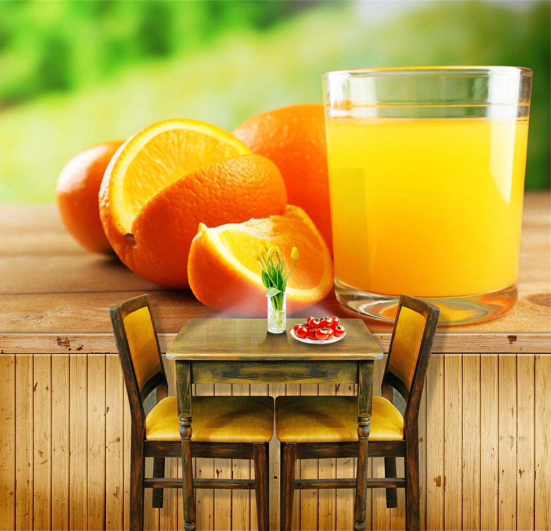 3D Fresh Orange juice Wall Paper Print Wall Decal Deco Indoor Wall Murals