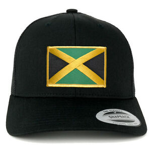 1228516d213 Image is loading FLEXFIT-Jamaica-Flag-Embroidered-Iron-On-Patch-Snapback-
