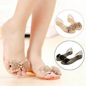 Sexy Woman Flat Sandals Bow Sandals Summer Transparent Crystal Jelly ... fb36ea3f8