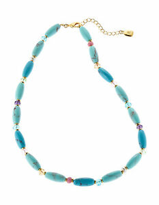 775f6f5019a Details about Ralph Lauren Gold Tone HALF MOON Turquoise Multi Bead Collar  Necklace $58 NEW