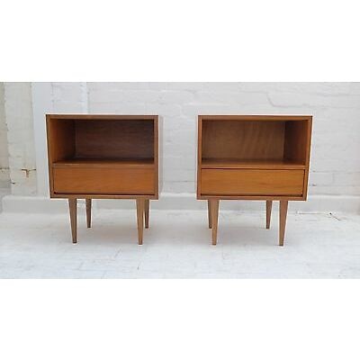 Pair of TEAK SIDE TABLES/ BEDSIDES -  Retro Mid Century Eames Style