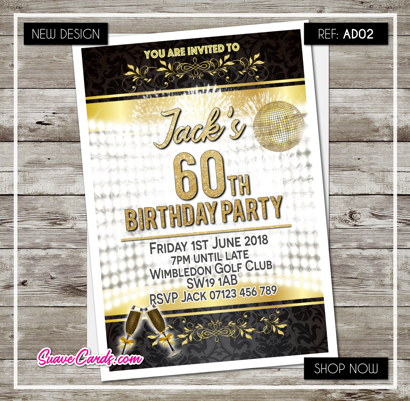 Personalised Adult Birthday Disco Party Invitations 30th 40th 50th 60th 70 Gold