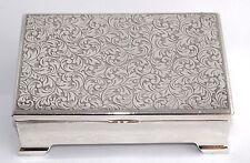Superb Vintage Japanese Silver Plate Cigarette/Cigar Box - Wood Lined - Chased