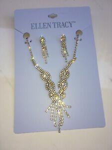 0019263f4ca Details about Necklace earrings set bridal wedding Ellen Tracy rhinestone  crystal silver