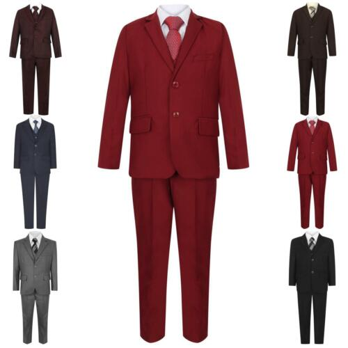Boys Suits 5 Piece Wedding Page Boy Party Prom Suit Red Black Grey Navy 1-15 Yrs