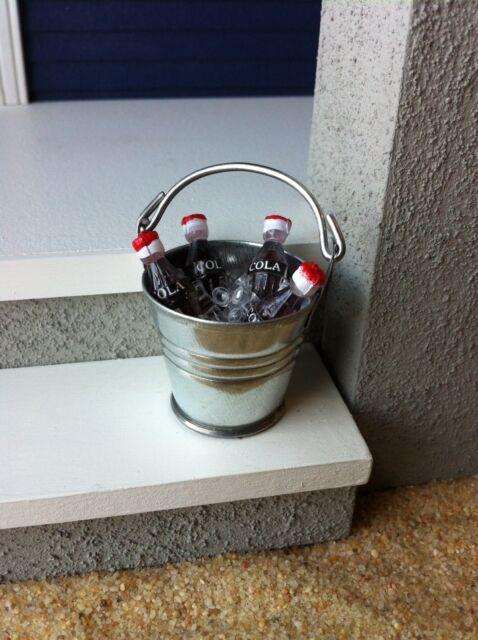 "Dollhouse Iced Drink Pail Beach Coke Bucket 1"" Scale 1:12 Miniature Fairy Garden"