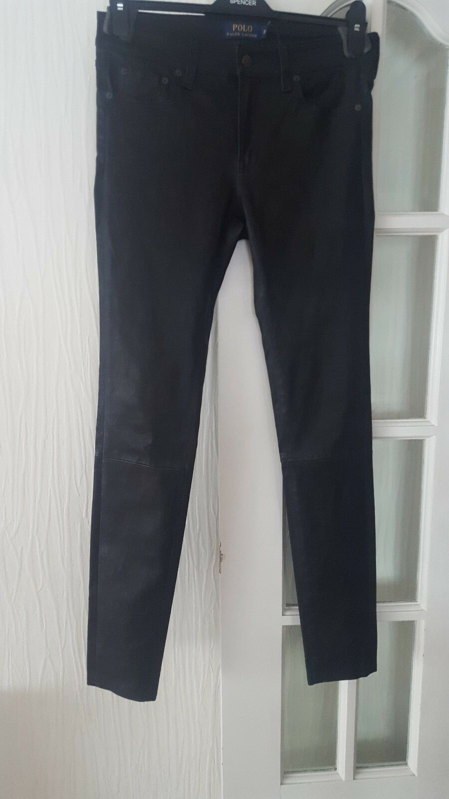 BNWT Genuine Polo Ralph Lauren Skinny Leather Trousers Size US 8 RRP