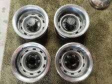 Chevy Gmc Truck Rally Wheels 6 Lug 15x8 K10 4x4 Steel Used With Caps And Rings