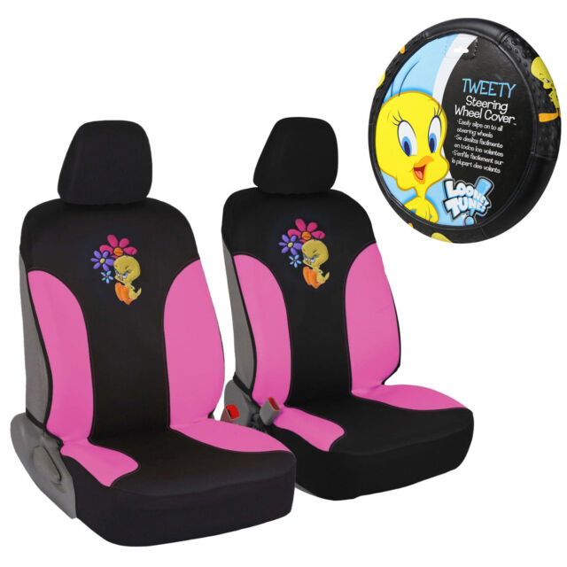 New Looney Tunes Tweety Bird Car Truck Front Seat Covers Steering Wheel Cover