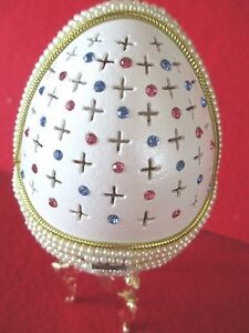 "Decorated Goose Egg "" SELENA "" an egg within an egg perfect bejeweled gift"
