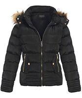 Womens Coat Hood Detachable Fastening Winter Jacket Padded Bubble Fur UK S-2XL