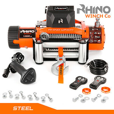 12v 13500lb Electric Recovery Winch 4x4 Car ~ RHINO Heavy Duty Steel Cable