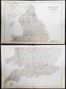 1870-John-Bartholomew-Large-Antique-2-Sheet-Map-of-England-amp-Wales