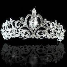 Prinzessin Braut Kristall Tiara Diademe Hochzeit Strass Krone Band Haar Schmuck