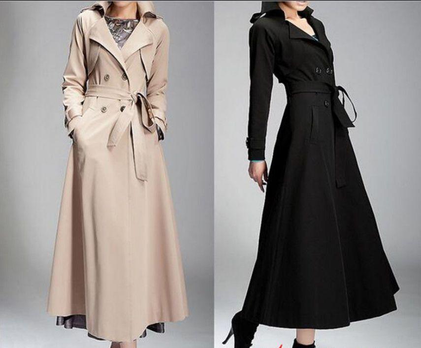 Elegant Women's Lady Full-Length Maxi Trench Coat Double Breasted Belt Coat