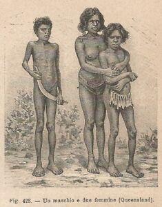 C5307-Australia-Queensland-Un-maschio-e-due-femmine-1895-xilografia