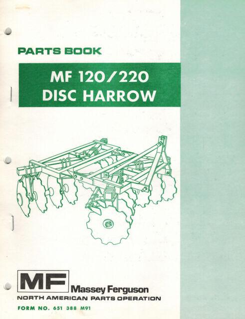 Massey Ferguson Mf 120 Mf 220 Disc Harrow Parts Manual Ebay