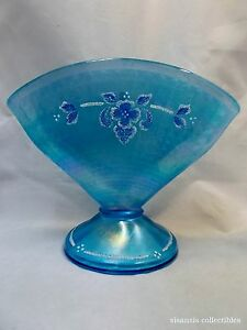 Fenton-Celeste-Blue-Stretch-Glass-Coralene-Fan-Vase-90th-Anniversary-6-034