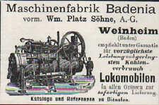 WEINHEIM, Werbung 1900, Maschinen-Fabrik Badenia für Lokomobilen Kohle Transport