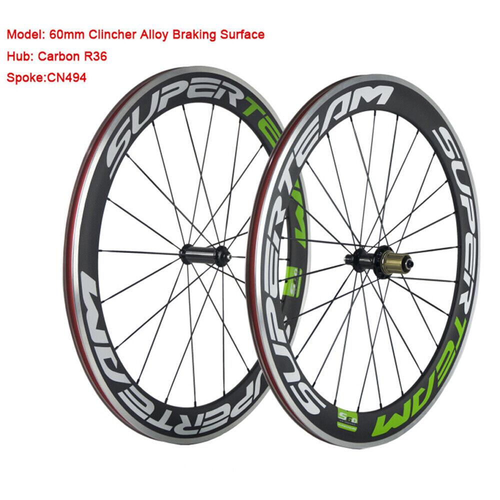 700C Superteam 60mm Alloy  Brake Surface Carbon Wheelset Road Bike Carbon Wheels  online sales