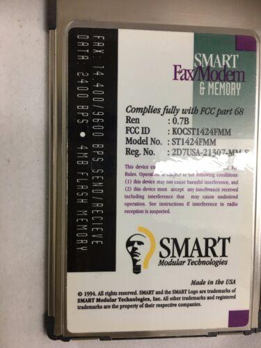 SMART Fax//Modem 14.4//9600 BPS PCMCIA Modem 4MB Memory ~ Usedhandhelds