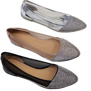 Details about Ladies Pointed Toe Mesh Metallic Patent Diamante See Through Ballet Flat Shoes