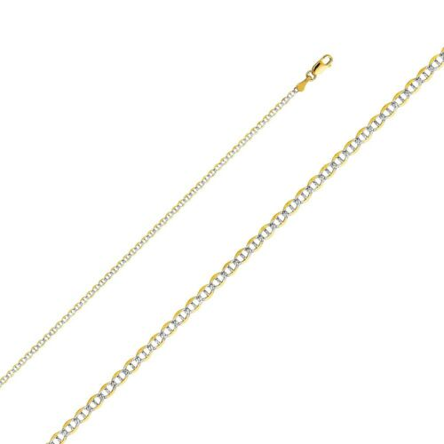 14k White Pave Gold Mariner Chain Necklace Italy Two Tone Solid Links 2mm Thick