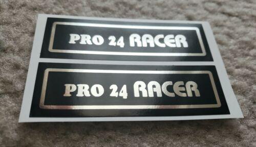 "Hutch BMX Pro Racer 24/"" Cruiser Stickers Chrome On Black Old School Rear Stay"
