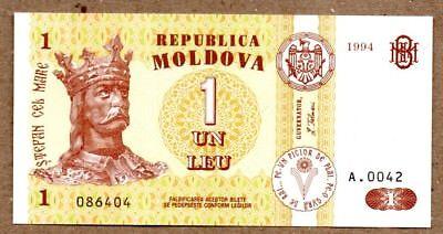 1 Leu P-5 UNC 1993 ex-USSR Moldova 1992