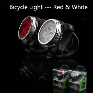 Luce-Bici-Posteriore-Fanale-3-LED-Sicurezza-Bicicletta-Batteria-integrata-Rosso
