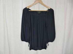 Banana Republic Womens Dark Blue 3/4 Sleeve Blouse Shirt Tie Sleeve Cuff Size XS