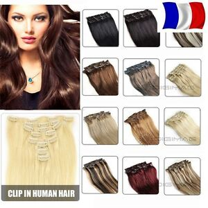 HAIR EXTENSIONS CLIPS 100% NATURAL REMY HAIR 46-60CM COLORS TO ... aad912500