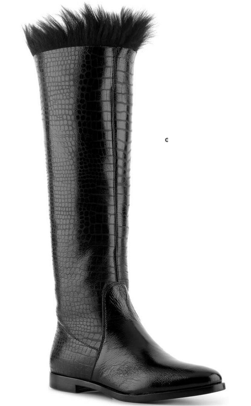 Sergio Rossi reptile en cuir estampé Flat Knee-High démarrage, Noir, S 5, EU 35 New in Box