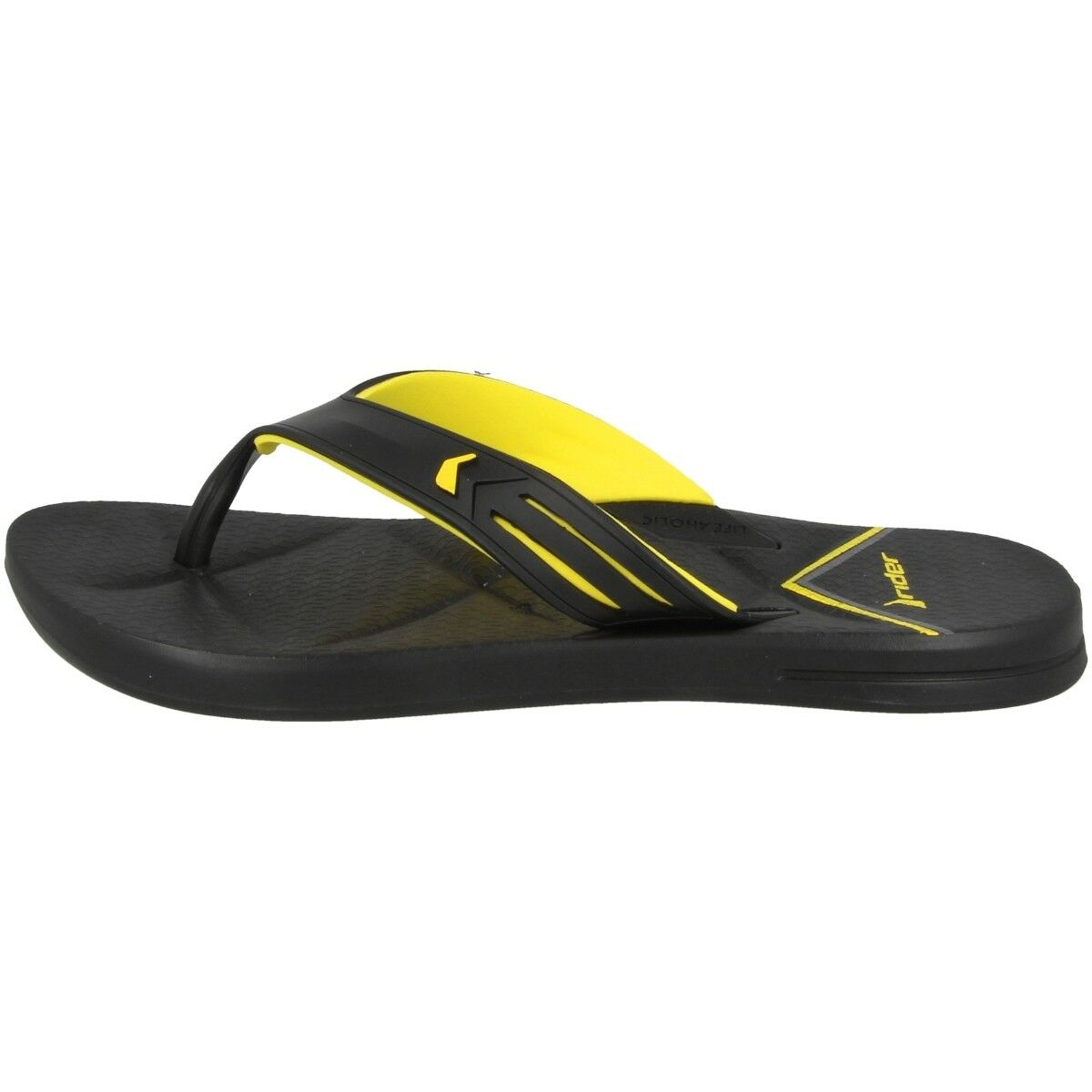 Rider Easy Thong Ad push-toe Sandals Bath Slippers Black Yellow 82026-8627