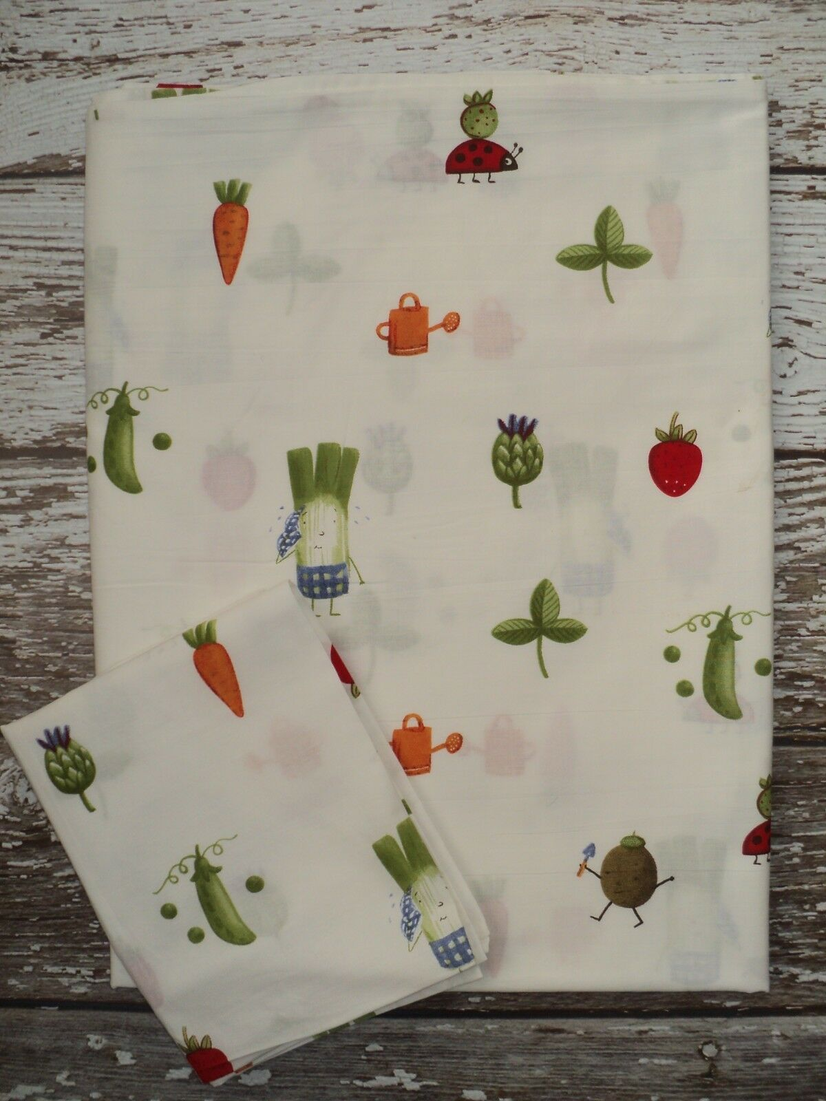 IKEA Torva Gronsak Duvet Cover + Sham Vegetables Ladybugs Garden Twin SZ Cotton