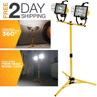 Work Light With Tripod Stand Twin Head Lights 16,000 Lumen For Garage Adjustable