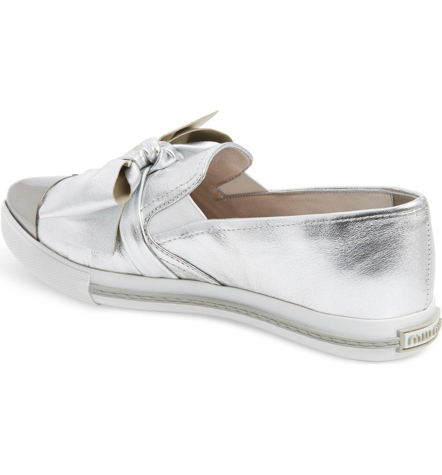 Miu Miu Cap Toe Hidden Wedge baskets chaussures argent argent argent 40 a71ab0