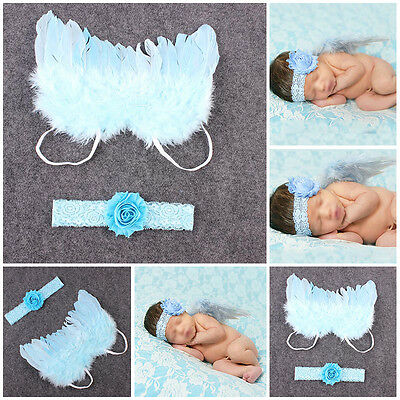 Baby Newborn Boy Girl Lace Headband Angel Wings Photo Photography Props Outfits